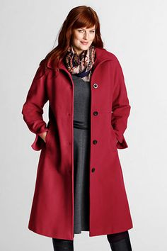 Womens Plus Size Wool Coat with Contrast Trim from Lands End