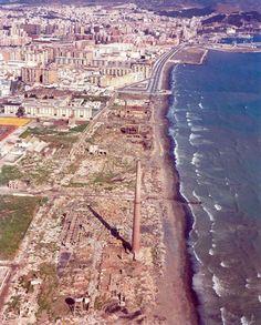 #Málaga. Vista aérea de la playa de la Misericordia. Años 90 City Photo, Castle, Water, Travel, Bella, Outdoor, The World, Sea Art, Andalusia Spain