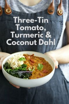 Three-Tin Tomato, Turmeric & Coconut Dahl. A fabulous weeknight dinner that won't break the bank, made with store cupboard ingredients. This dahl, is simple to make curry which is healthy and delicious. #tomatodahl #tomatodal #tomatocurry #tomatoes #coconut #stew #dhal #dal #turmeric #vegetarian #vegan #easydinner #quickdinner #easyvegandinner #easyveggiedinner #cannedtomatoes #tinnedtomatoes
