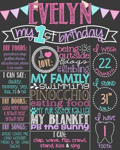 Items similar to Girl First Birthday Chalkboard Poster // Girl Birthday Chalkboard // Pink Teal Purple Peach Chevron // Pink Turquoise Lavender // Bright on Etsy Gold First Birthday, Winter Birthday, 1st Birthday Girls, First Birthday Parties, First Birthdays, Birthday Ideas, Birthday Presents, 1st Birthday Chalkboard, Chalkboard Poster