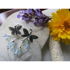 Marcasite earrings, Dragonfly earrings, Swarovski earrings, Crystal... ($51) ❤ liked on Polyvore featuring jewelry and earrings