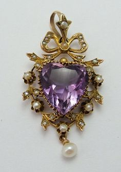 Large Antique Victorian 9ct Gold Seed Pearl & Faceted Amethyst Heart Charm or Pendant