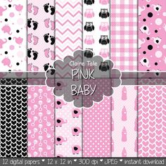"""Baby digital paper: """"PINK BABY"""" with elephants, foot print, hearts, rattles, baby bottles, owls, gingham, polka dots in pink and black"""