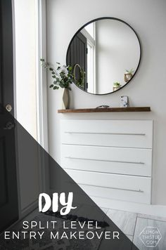 DIY Split Level Entry Makeover- I LOVE this entry. The oversize door, scandi influence and that shoe storage! : DIY Split Level Entry Makeover- I LOVE this entry. The oversize door, scandi influence and that shoe storage! Split Entry Remodel, Split Level Remodel, Split Level Entryway, Entry Level, Split Level Home, Best Decor, Level Homes, Cuisines Design, Reno