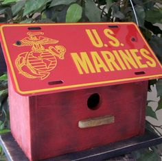 U S Marines Corps License Plate Birdhouse Red Fully Functional Great Gift for the Holiday. $30.00, via Etsy.
