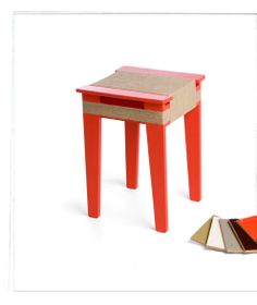 Wrapped stool/sidetable in orange by Floris Hovers