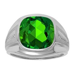 Diamond and Green Emerald Men's Large Ring In White Gold Father's Day 2015 Unique Jewelry Gift Presents and Ideas. Gemologica.com offers a large selection of rings, bracelets, necklaces, pendants and earrings crafted in 10K, 14K and 18K yellow, rose and white gold and sterling silver for that special dad. Our complete collection and sale of personalized and custom gifts for dad: www.gemologica.com/mens-jewelry-c-28.html