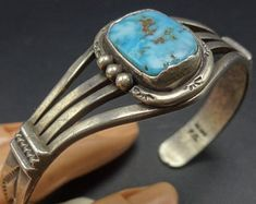 Turquoise Jewelry Necklace SIGNED: F. for Frederick Chavez (Navajo). (the face of the bracelet, north to south). Turquoise Cuff, Turquoise Pendant, Turquoise Bracelet, Kingman Turquoise, Green Turquoise, Blue Green, Navajo, Sterling Silver Cuff Bracelet, Silver Ring