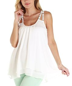 Take a look at this White Chiffon Maternity Hi-Low Tank by PinkBlush Maternity on #zulily today! $34.99