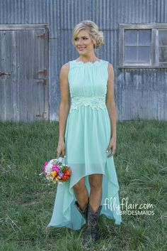The boots make this bridesmaid dress perfect for a country wedding!