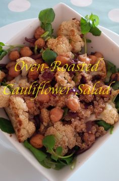 Oven-roasted cauliflower salad with chickpeas and quinoa.