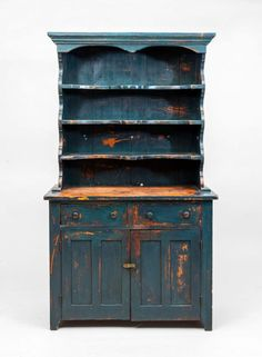 AMERICAN BLUE PAINTED TWO-DOOR CUPBOARD - 68 in. x 39 1/2 in. x 18 1/2 in.