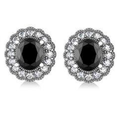 Allurez Black Diamond & Diamond Floral Oval Earrings 14k White Gold... ($9,640) ❤ liked on Polyvore featuring jewelry, earrings, oval diamond earrings, diamond earrings, earring jewelry, 14 karat gold earrings and white gold diamond earrings