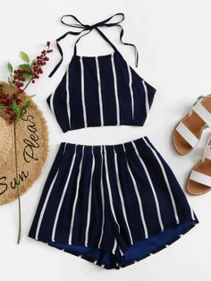 Shop Knot Back Striped Halter Top With Shorts online. SheIn offers Knot Back Striped Halter Top With Shorts & more to fit your fashionable needs. T Shorts, High Waisted Shorts, Summer Outfits, Cute Outfits, Halter Crop Top, Teen Fashion Outfits, Two Piece Outfit, Wattpad, Fashion News