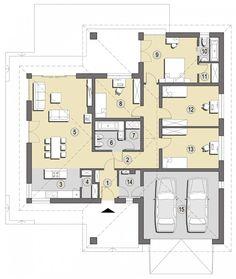 DOM.PL™ - Projekt domu SD BALOS A CE - DOM SD1-90 - gotowy koszt budowy House Layout Design, Bungalow House Design, Small House Design, House Layouts, Cool House Designs, Modern House Design, Indian House Plans, New House Plans, Small House Plans