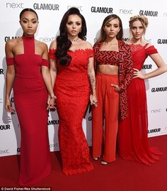 Their own individual styles: While Jade flashed her toned tummy in a black and red crop top, her bandmates Jesy, Perrie and Leigh-Anne wowed in flowing red dresses