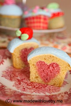 a heart ... baked into a cupcake