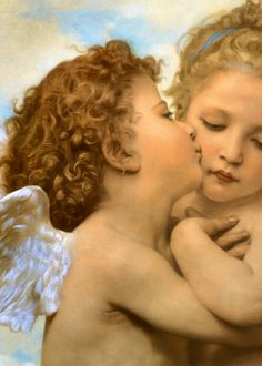 c0ssette:  The first kiss 1890 (detail) William-Adolphe Bouguereau