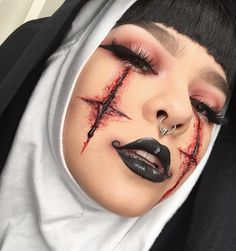 REACH OUT AND TOUCH FAITH #michaelhussar #janeenersss #specialeffectsmakeup #nun #halloween Highly inspired by one of @janeenersss recent makeup looks and @michael_hussar 's glossy lips ❤️ Theyre both amaaazing artists and just ooze creativity. EYES: @katvondbeauty #shadeandlightpalette (the rusty color) along with #bloodmilk from the #serpentinapalette FACE: #katvond #lockittattoofoundation in light 48 and #shadeandlightcontourpalette. The sfx is all @bennyemakeup! Started off with #...