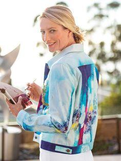 Secret Heart print Jean Jacket by Claire Desjardins apparel, Spring 2019.  #clairedesjardins #clairedesjardinsart #ClaireDesjardinsApparel #Sundress #JeanJacket #cami #WomensApparel #WearableArt #designerclothing #apparel #designerapparel #artandfashion #fashionandclothing #artonclothing #abstractart #abstractpainting #designerclothes #womensapparel #womens