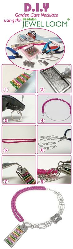"""DIY Necklace - """"Garden Gate"""" using the Beadalon Jewel Loom and @halcraft beads. Available in @michaelsstores"""
