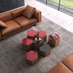 Individually, the Centre occasional table is a simple, sleek and sophisticated hexagon table ideal for placement beside your favorite chair. However, combined with an assortment of alternate sizes and colors available, the Centre tables provide a creative and unique honeycomb style, large coffee table guaranteed to capture the imagination. Offered in rich walnut wood base with Black or Chili Pepper glass top. Available in three height options - 10-inch, 14-inch, and 18-inch. Unlimited…