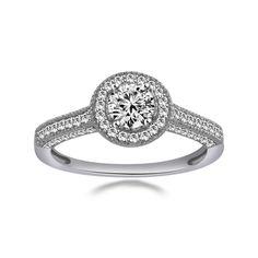 0.90ct VVS1 Diamond Round Cut 10K Solid White Gold Halo Engagement Ring #affinityengagementjewels #Halo #(I-CMR11306-10KW-CZ)