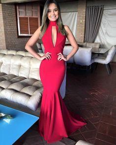 Sexy Open Back Halter Neckline Mermaid Red Prom Dress