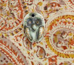 Ceramic pendant, glazed pendant, porcelain pendant, bird pendant, gold pendant, owl pendant by BlackRabbitCeramics on Etsy Ceramic Pendant, Owl Pendant, Moth, Insects, Porcelain, Pendants, Bird, Animals, Etsy