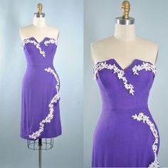 Vintage 50s Wiggle Dress / 1950s PURPLE Cotton by GeronimoVintage