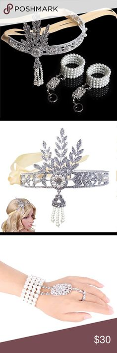 Babeyond® Cristal Bandeau  Tiara and bracelet Babeyond® Cristal Feuille Bandeau The Great Gatsby inspired Perle Bandeau rhinestone Tiara and one bracelet with attached rhinestone ring. NIB Babeyond  Jewelry Bracelets