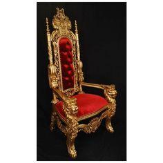 Harris Furniture, LK-1-GR, , Gold Red King Lion Throne Chair