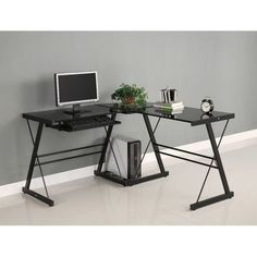 Black Metal L-Shaped Corner Computer Desk with Glass Top - Quality House