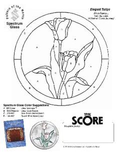 Free Stained Glass Pattern 2227-Elegant Tulips