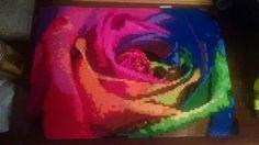 Rainbow rose perler bead art