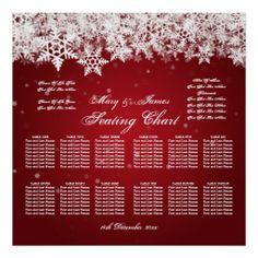 Elegant Wedding Seating Chart Winter Snow Red Print