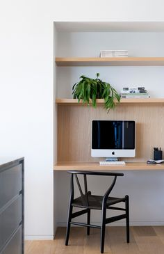 home office joinery design, timber panel behind the computer monitor Furniture, Apartment Decor, Joinery Design, Office Interiors, Living Room Decor Apartment, Home, Home Office Design, Timber Panelling, Study Nook