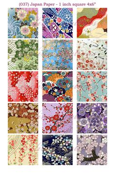 """Japan Paper (037) 1 inch square digital images collage sheet 4x6"""" by evelinn on etsy"""