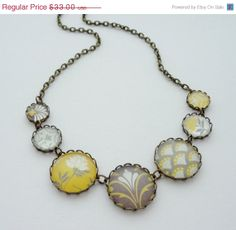 SHOP SALE- Modern Mustard Yellow and Gray Statement Necklace. Gift for her under 40 usd.