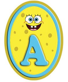 Original alfabeto de Bob Esponja en marco oval.  Sponge Bob letters - includes all letters
