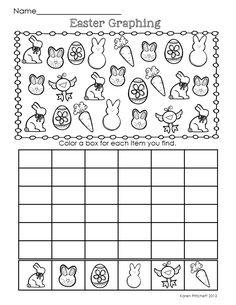 Spring Math Fun! I think you'll love this morning work math packet - just in time for Easter! 12 worksheets to address counting on, missing numbers, number sequences, patterns, graphing, and ten frames. 0-20 and 0-120 included. Great for Kindergarten-1st.