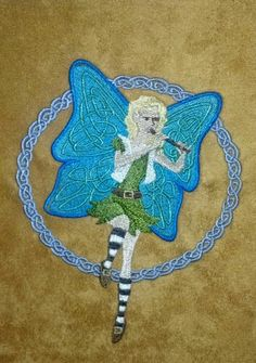 Whimsical Whistling Celtic Fairy on micro suede.