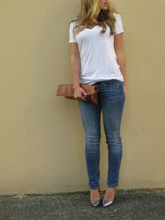 white tee + jeans + sparkly heels