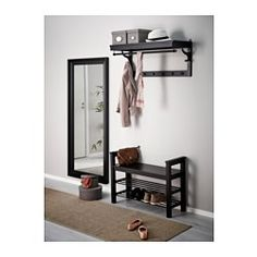 IKEA - HEMNES, Bench with shoe storage, black-brown, Holds a min. of 6 pairs of shoes. Coordinates with other furniture in the HEMNES series. Bench With Shoe Storage, Ikea Storage, Bedroom Storage, Storage Ideas, Hallway Storage, Ikea Hemnes Mirror, Ikea Mirror, Apartment Entryway, Entryway Decor