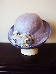 Vintage Hat with Millinery Flowers and by primitivepincushion, $28.50