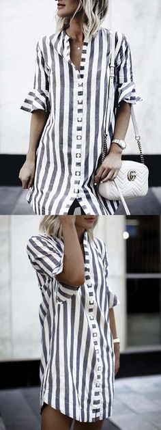 【Get it】Women Casual Striped Button Shirt Dress Sexy T Shirt, Cool Outfits, Casual Outfits, Winter Mode, Style Casual, Women's Fashion Dresses, Blue Stripes, Latest Fashion For Women, Blouses For Women