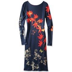 Isn't the print delectable? Great distractor from the bustline.  InStyle mag's Sept  2012 issue says this Fuzzi viscose jersey dress is available from Neiman Marcus, but I haven't been able to find it there.
