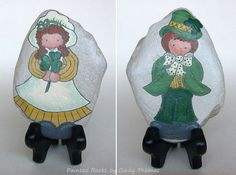 Happy St. Patrick's Day - reversible painted rock with stand