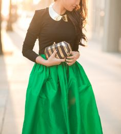 Partyskirts by SKOT emerald full skirt, lovely clutch and Forever21 necklace! #wendyslookbook