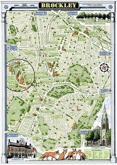 "Brockley, London SE4 illustrated map print 13 x 19"". £40.00, via Etsy."